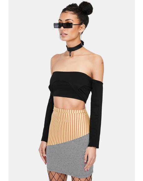 Beetlejuice Babe Striped Mini Skirt