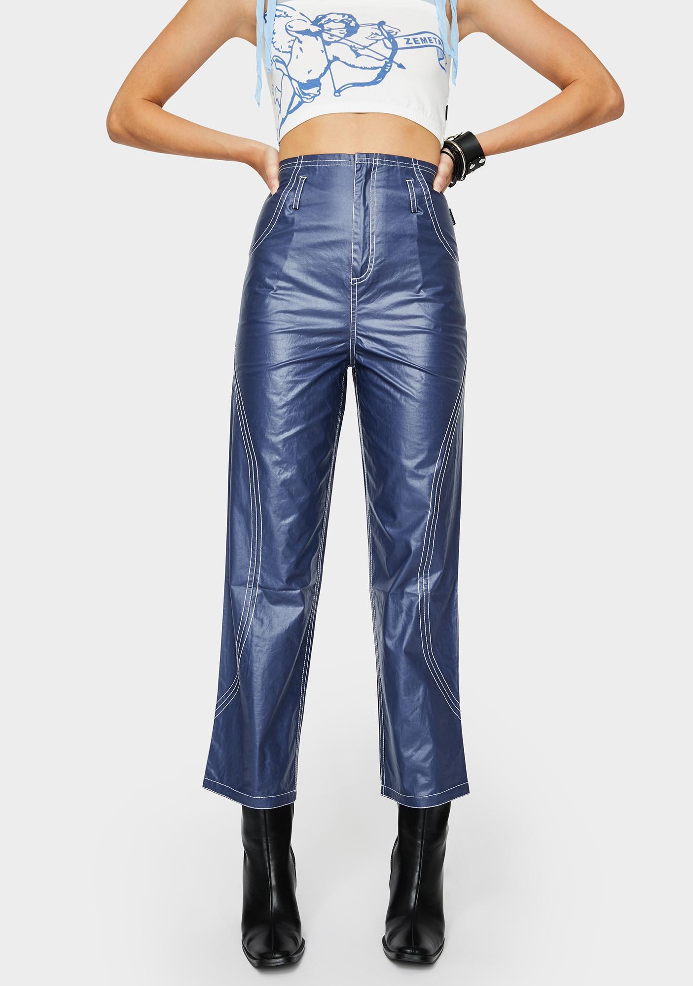 ZEMETA Navy Glossy High Waist Pants