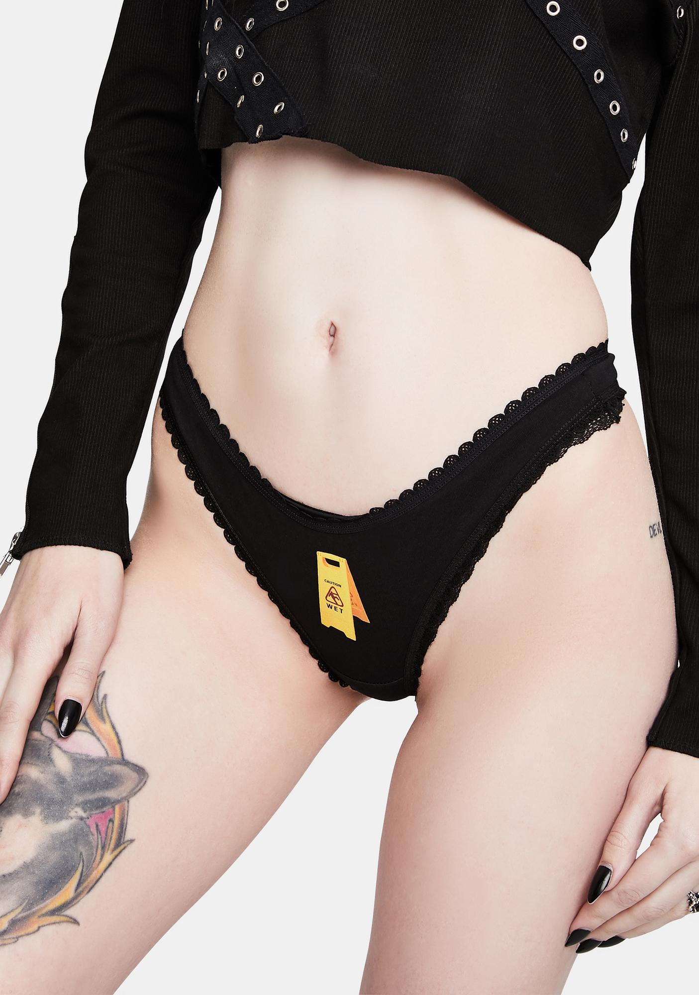 MaryJaneNite Black Caution Thong