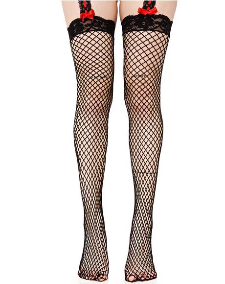 Taste of Sin Fishnet Garter Stockings