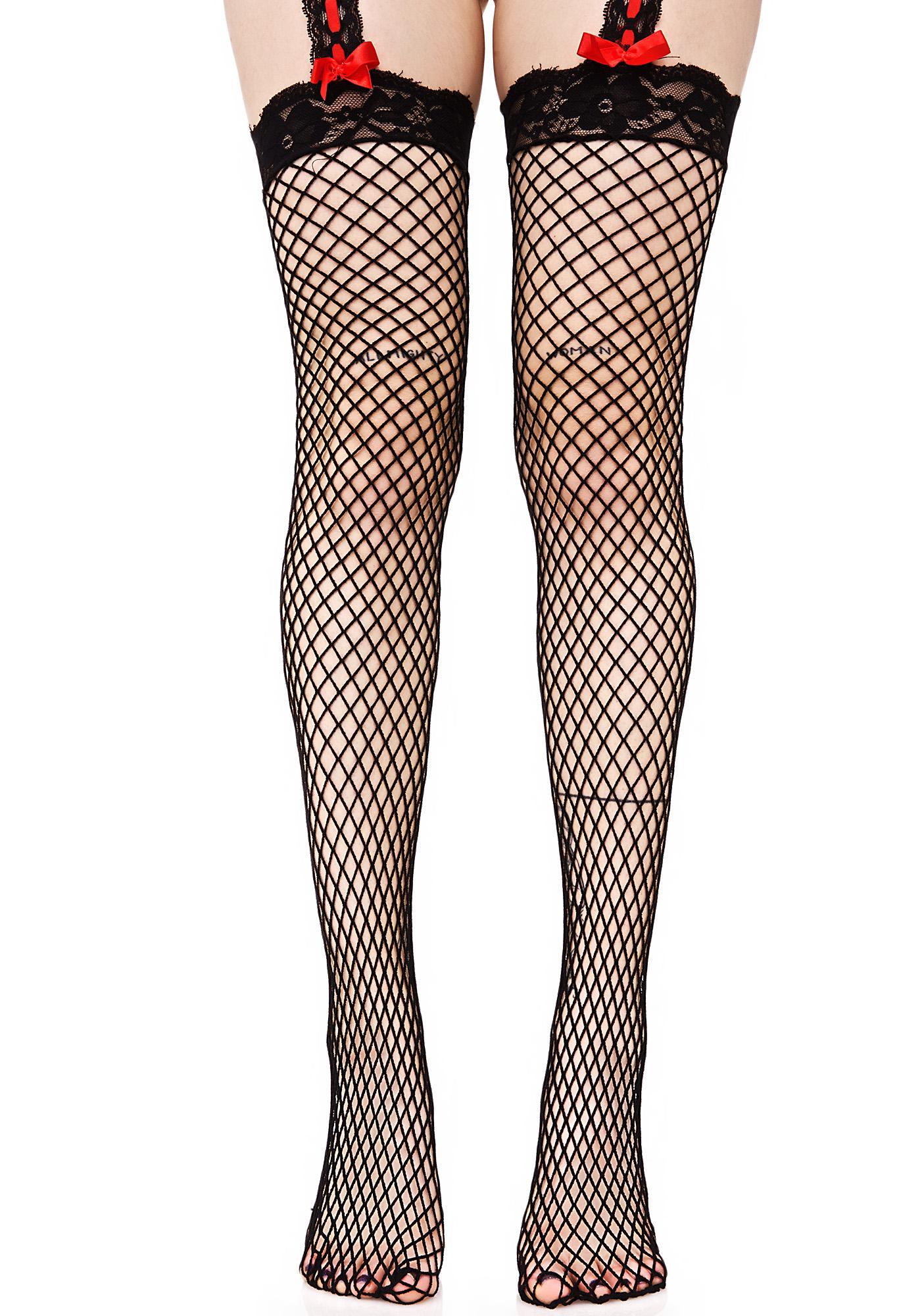 Taste of Sin Fishnet Garter Stockings