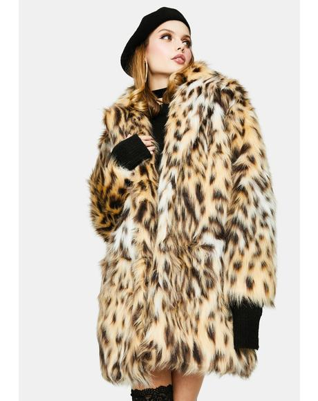 Be Here Meow Faux Fur Coat