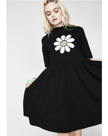 Dark Giant Daisy Dress
