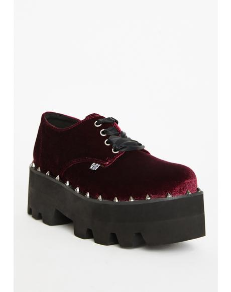 Burgundy Velvet Gibson Dino Lug Sole Platform Oxfords