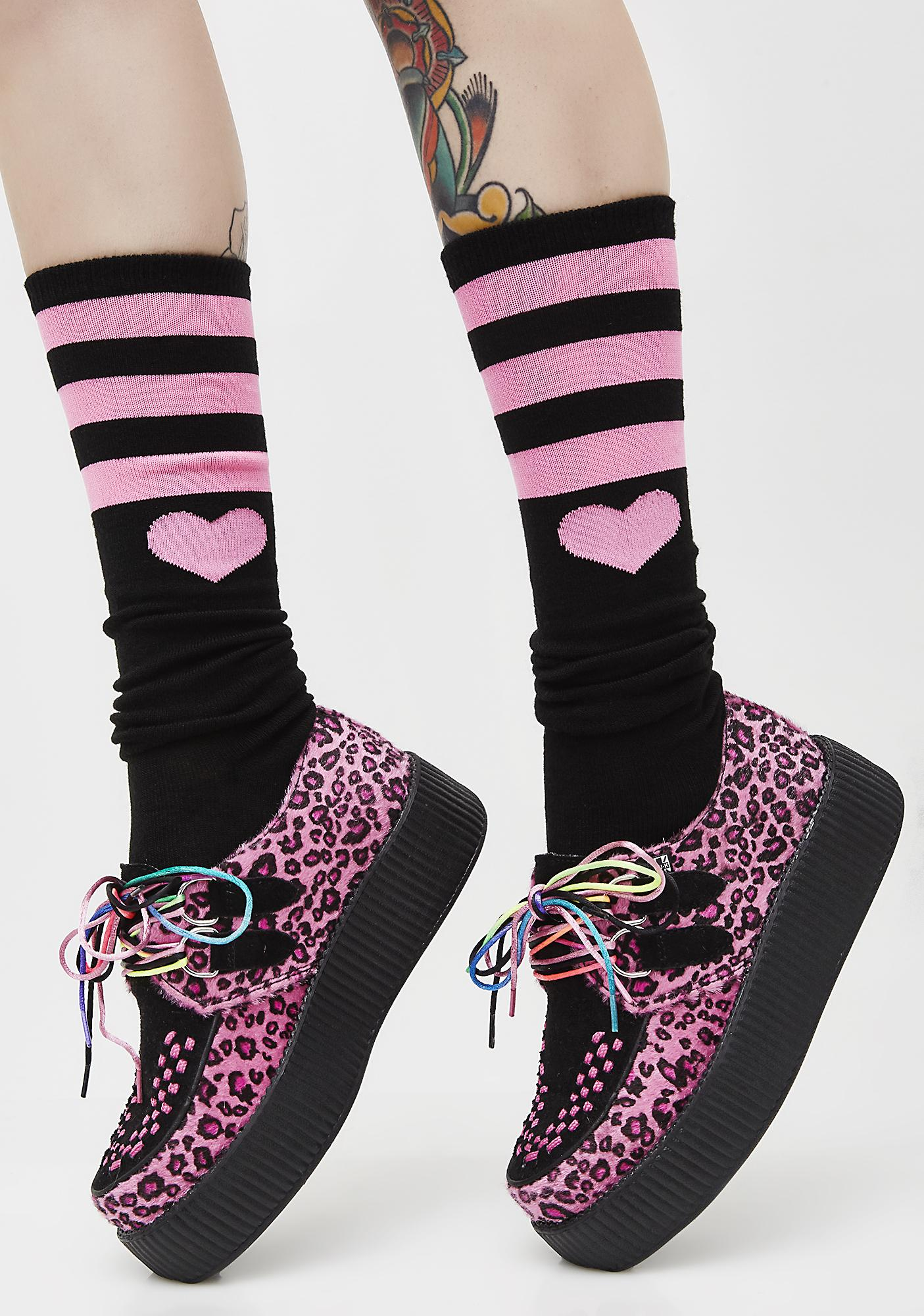 Tough Heart Striped Knee Socks