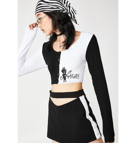 O Mighty Opposites Attract Long Sleeve Crop Top