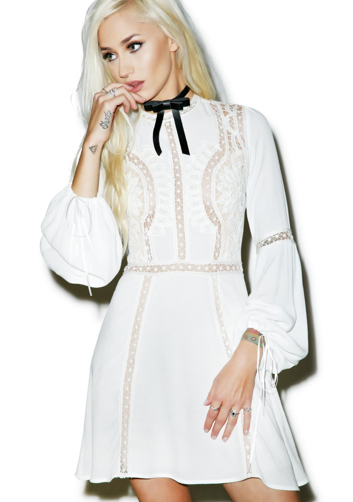 For Love & Lemons Ivory Penelope Mini Dress
