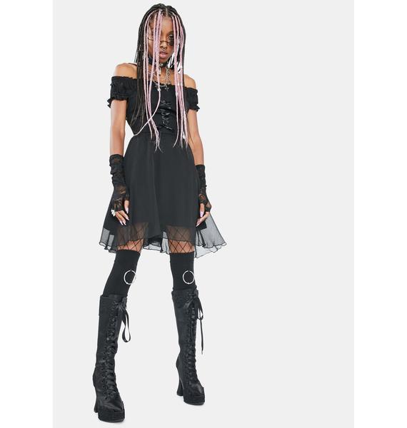 Punk Rave Gloomy Innocence Off The Shoulder Dress