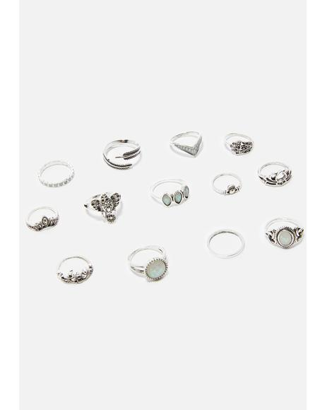 Moon Mystery Ring Set
