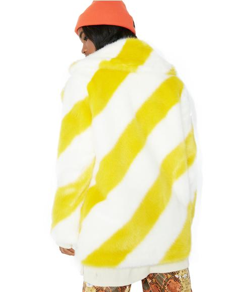 Yellow Stripe Heather Coat