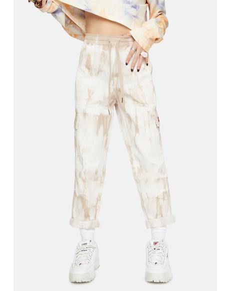 Tie Dye Cuffed Cargo Pants
