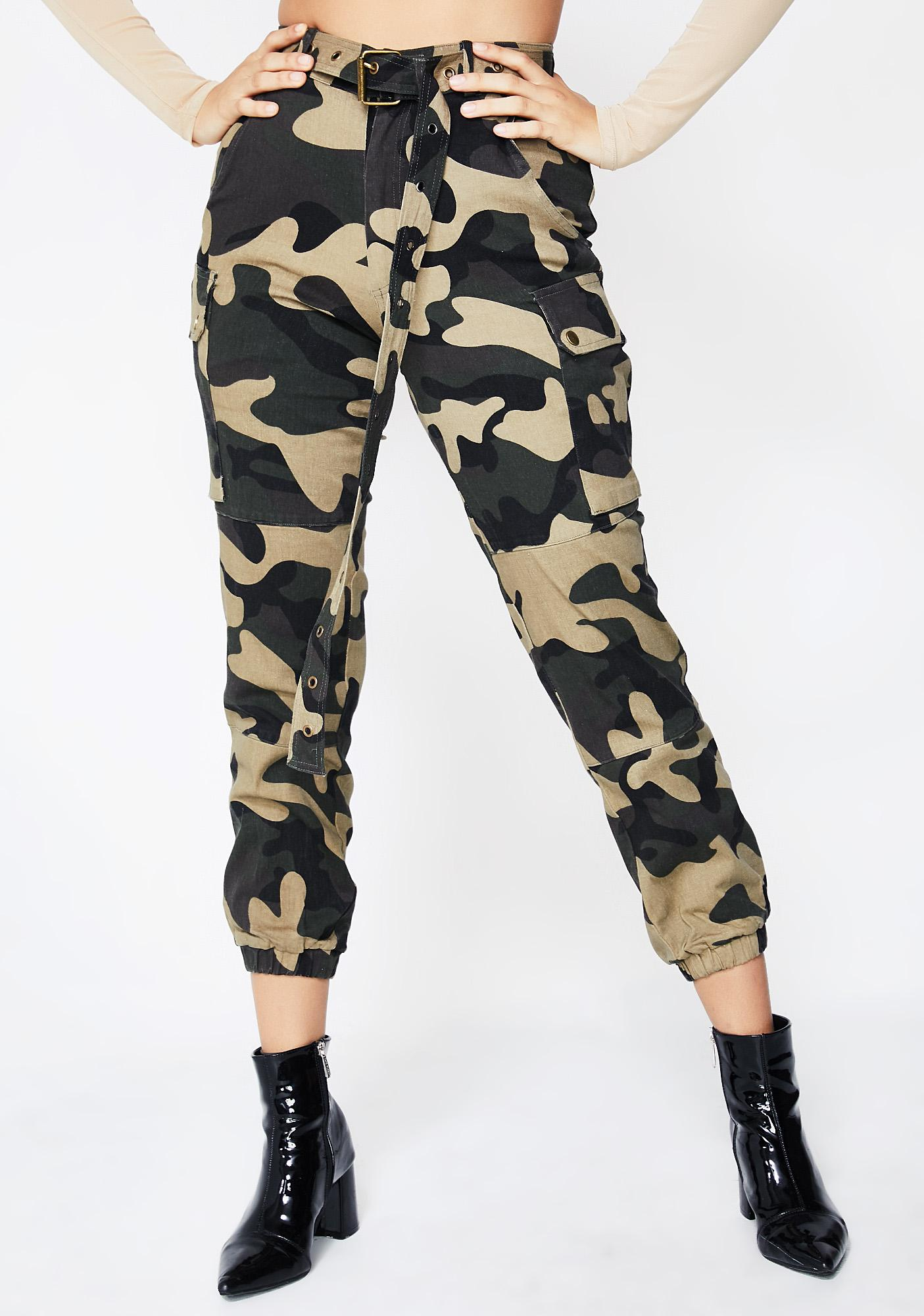 6a27e6eecb02b High Waisted Camo Cargo Pants | Dolls Kill