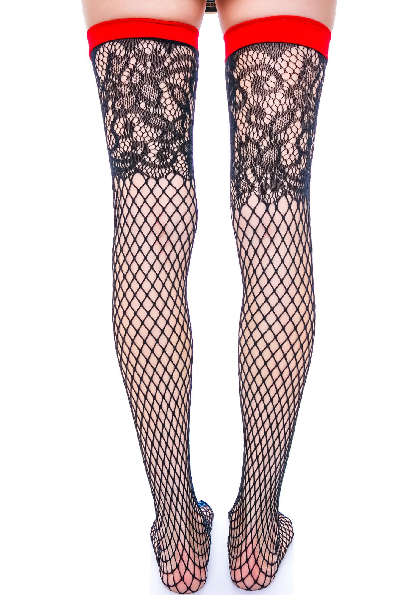 Speakeasy Lace Fishnet Thigh Highs