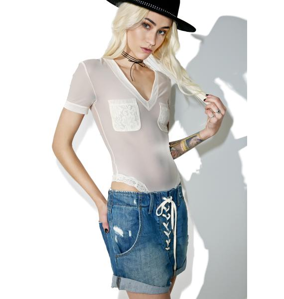 Hot as Hell Blanc Body Glove Bodysuit