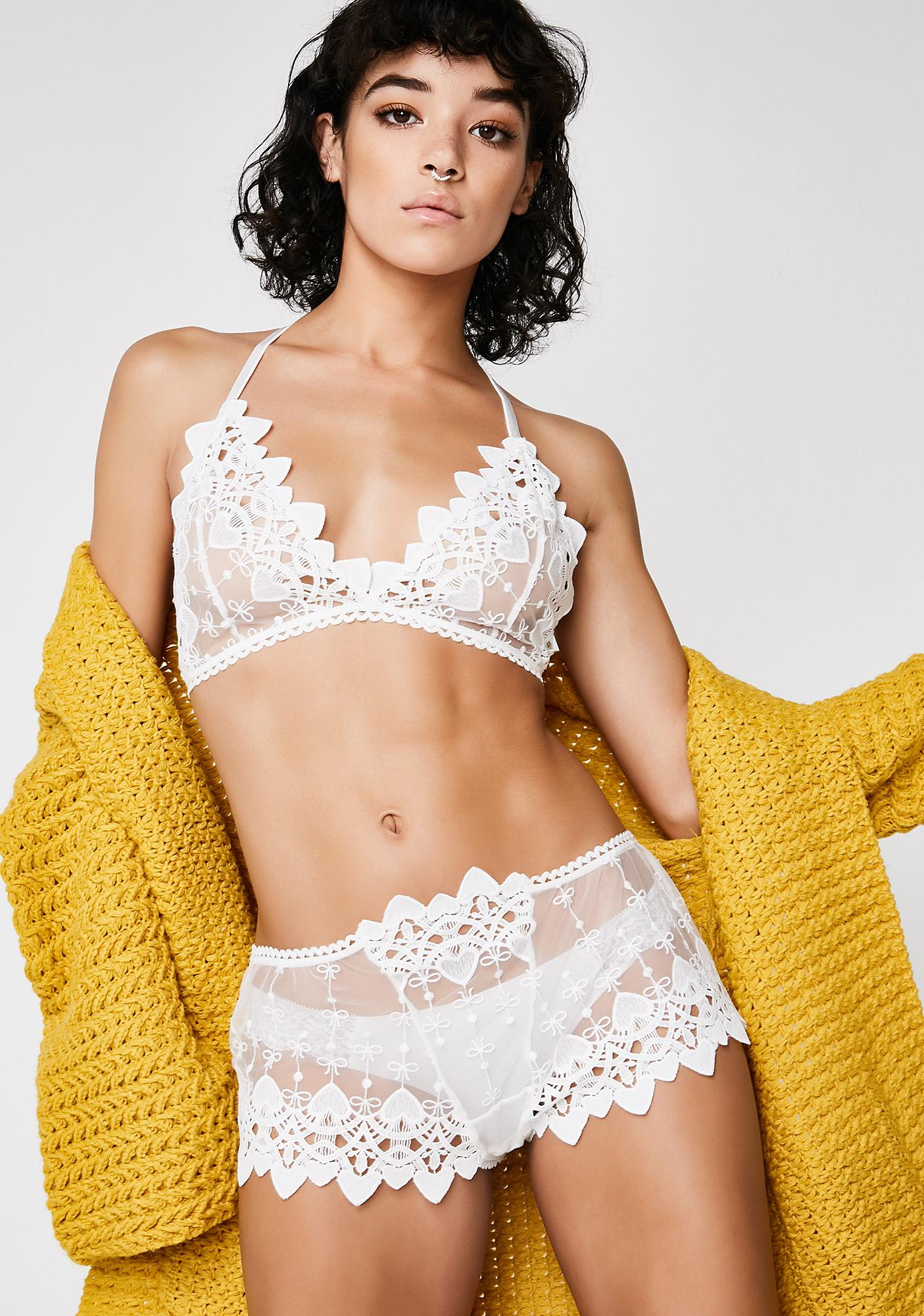 Next to Nothing Snow Drop Venetian Lace Boy Shorts