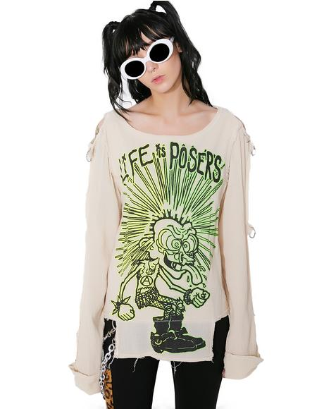 Life Is Posers Trippy Spit Bondage Shirt