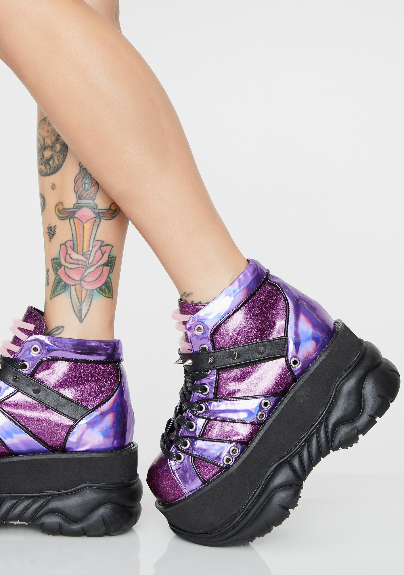 Demonia Planet Neptunez UV Platform Sneakers