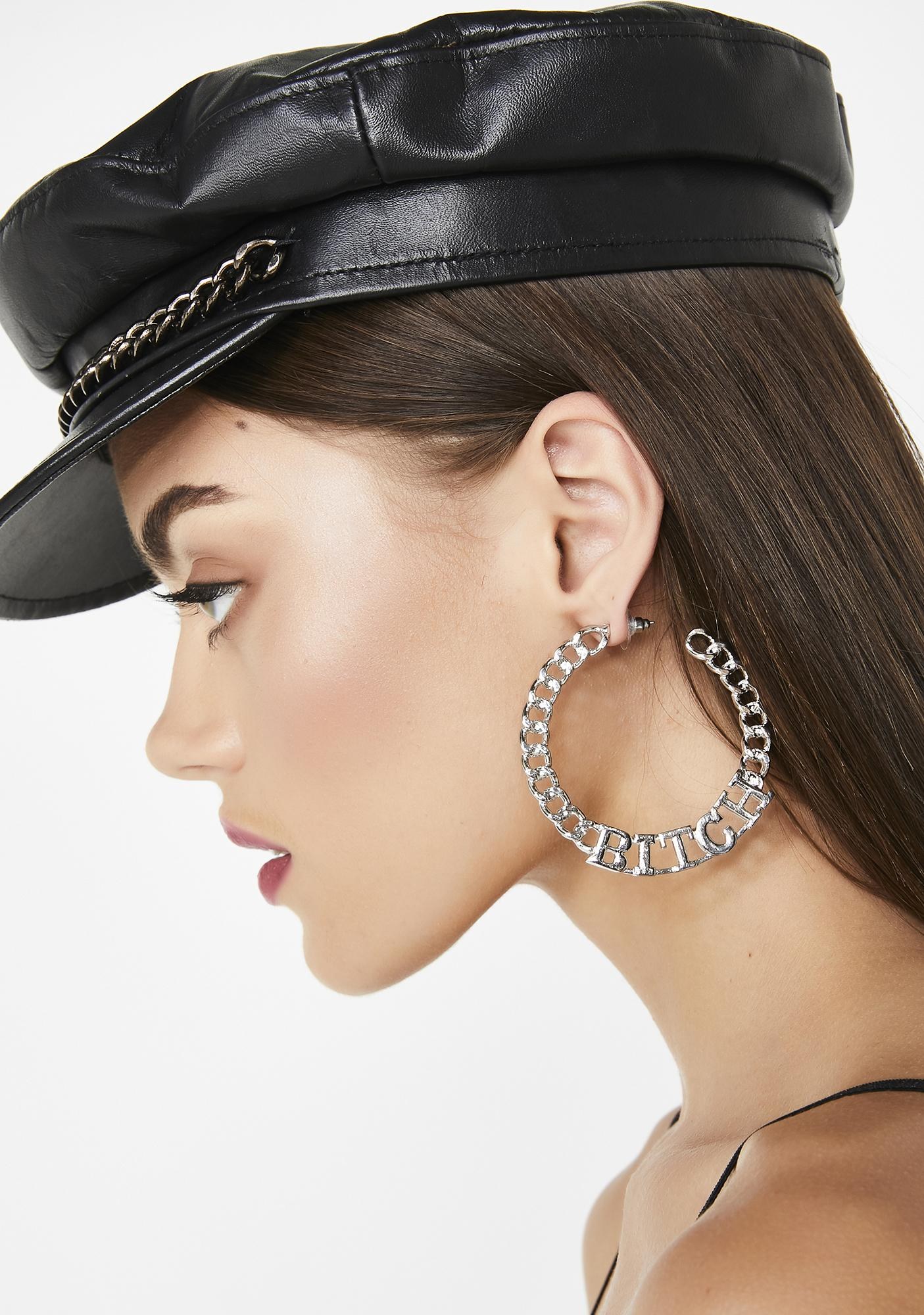 Slay Me Bish Hoop Earrings