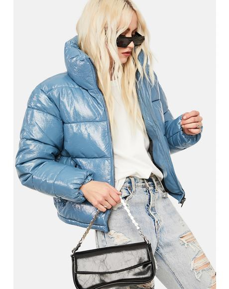 Blue Patent Vegan Leather Puffer Jacket