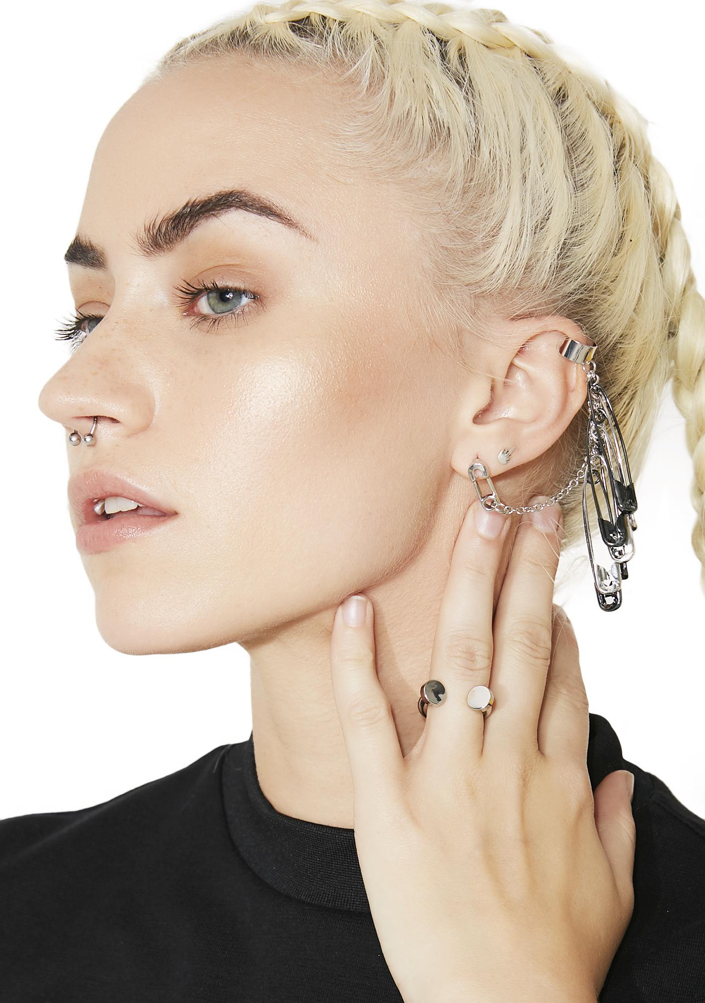 Sharp Wit Safety Pin Ear Cuff