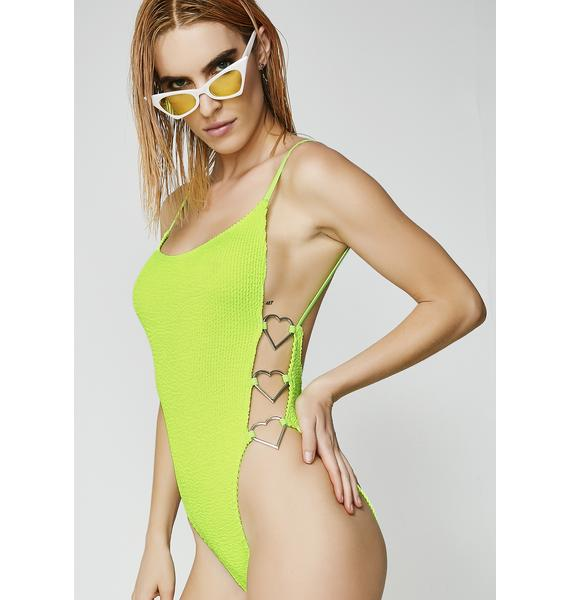 Jaded London Crinkle Heart Ring Cami Swimsuit