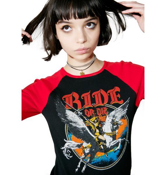 Hazmat Design Ride Or Die 3/4 Raglan Sleeve Shirt