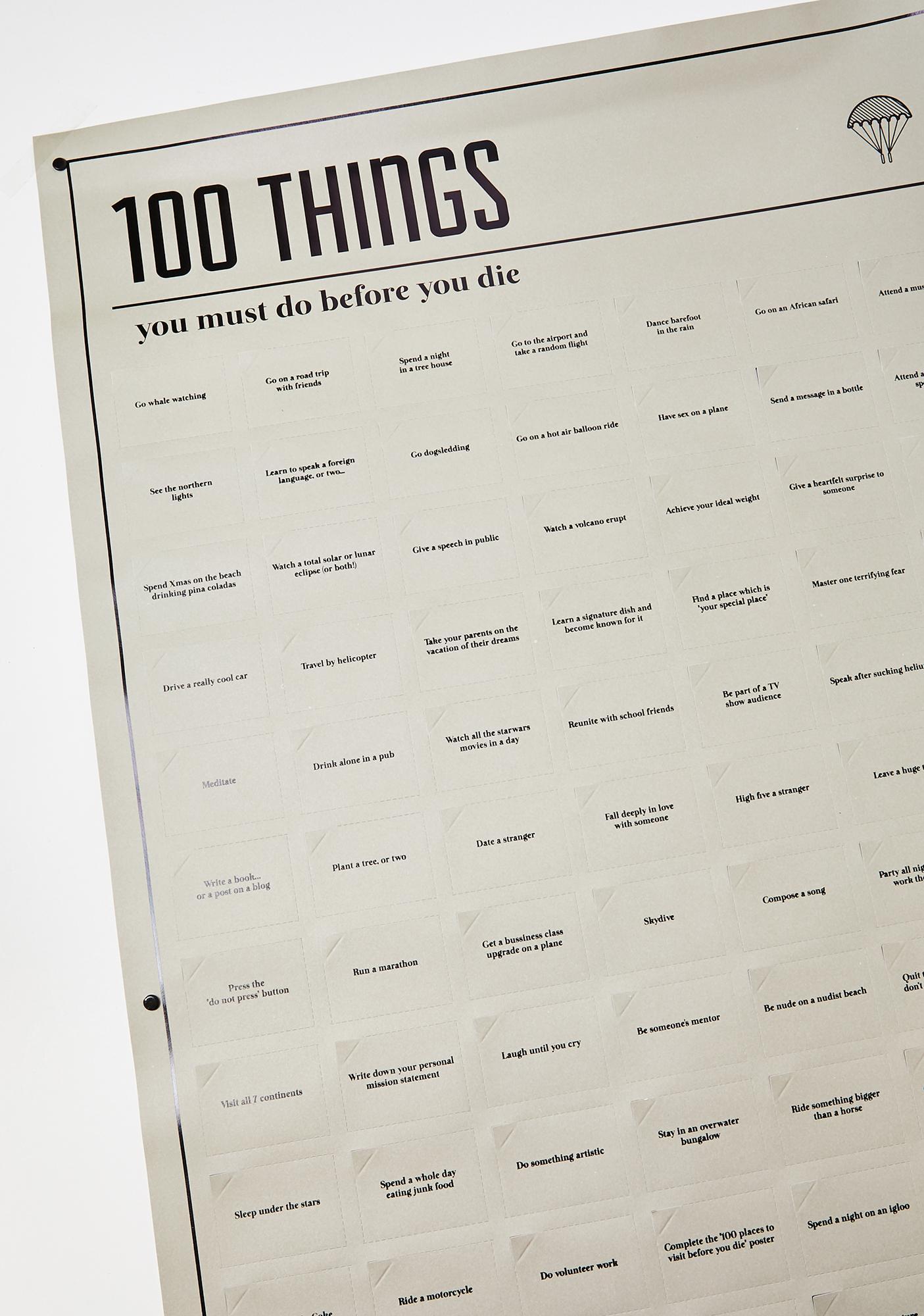 100 Must Do Bucket List Poster