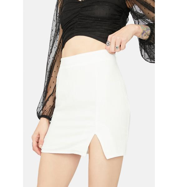Icy Bossy Title Side Front Slit Mini Skirt