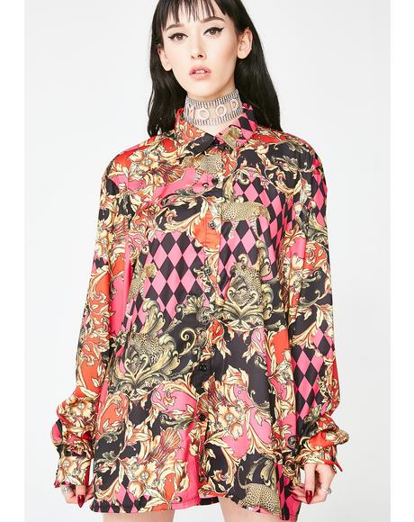 Lit Mixed Scarf Print Oversized Shirt