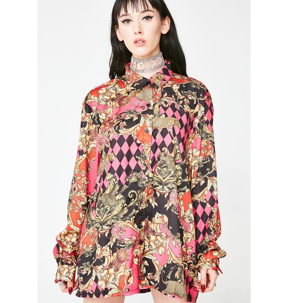 Jaded London Lit Mixed Scarf Print Oversized Shirt