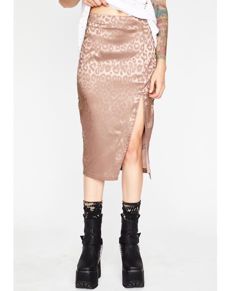 Champagne Silky Silent Stalker Midi Skirt
