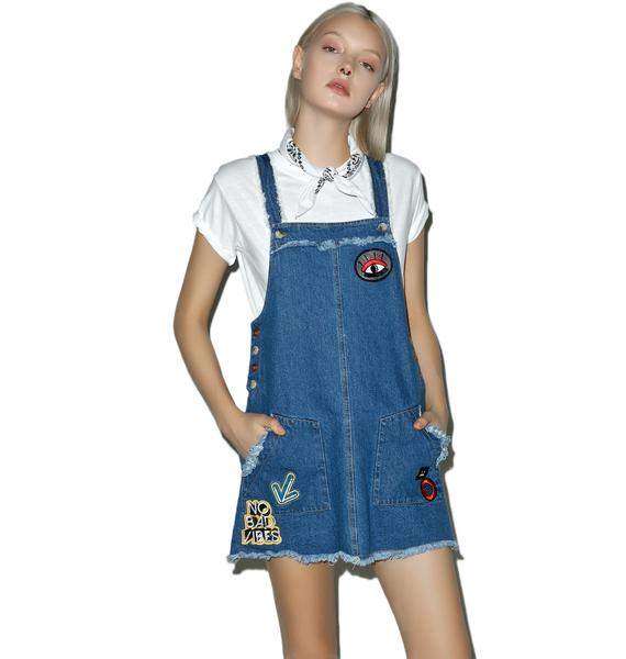 So Unique Patched Overall Dress