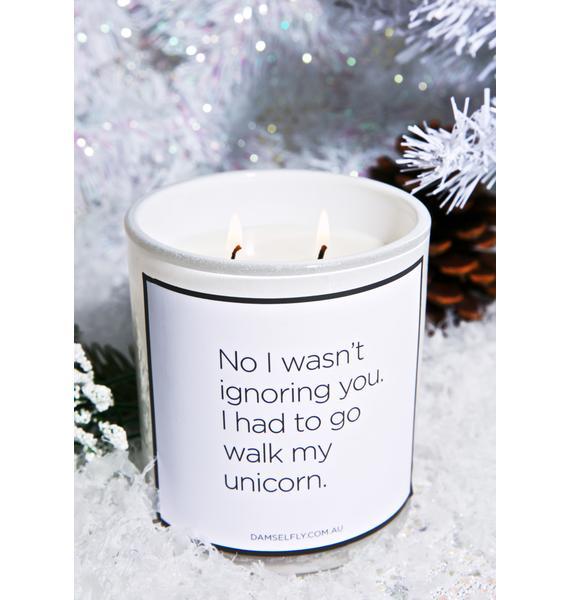 Damselfly Had To walk My Unicorn Candle