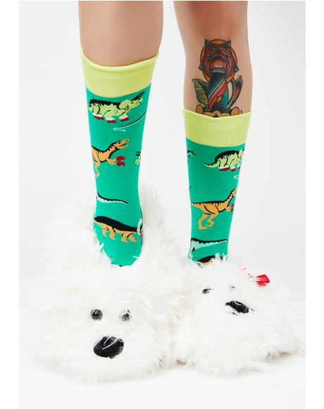 Holly Jolly T-Rex Socks