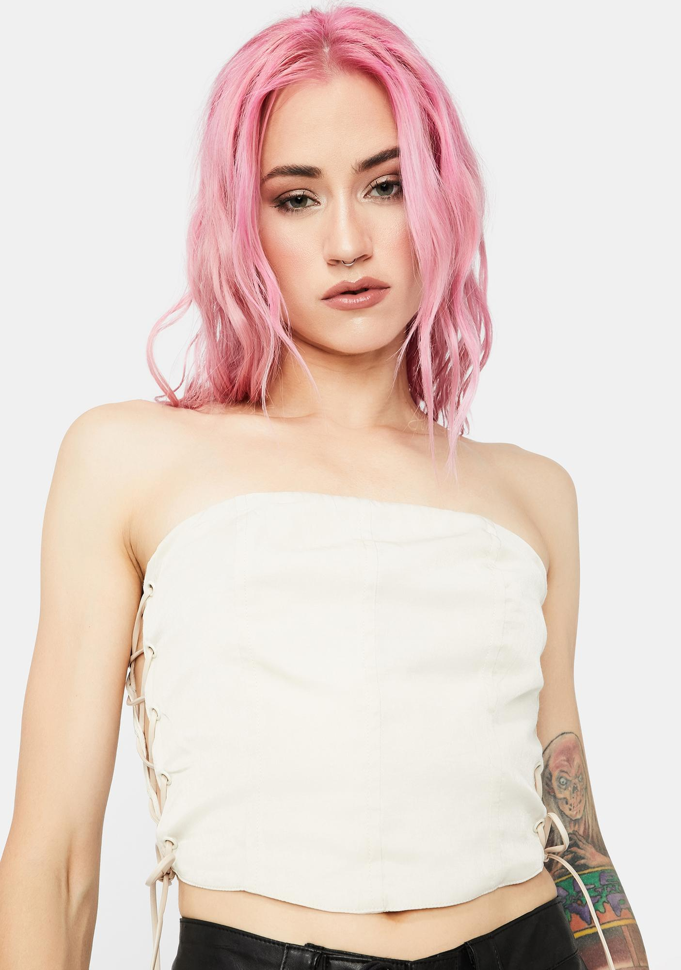 Angel In Your Dreams Lace Up Side Tube Top