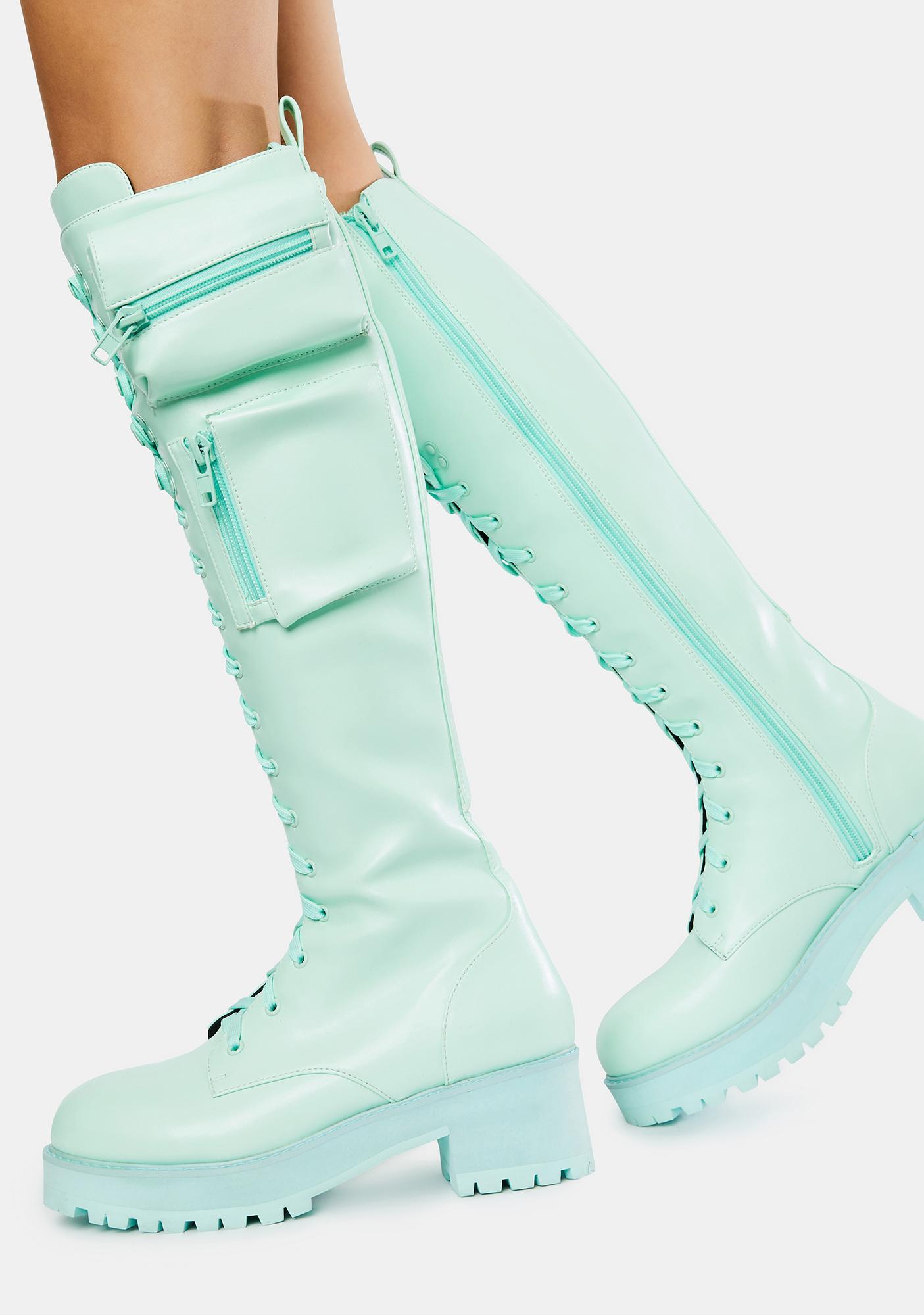 Sugar Thrillz Mint Obsidian Pocket Combat Boots