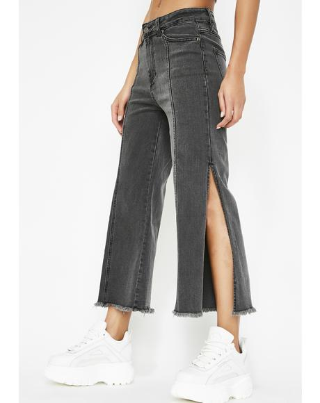 Split Shift Wide Leg Jeans