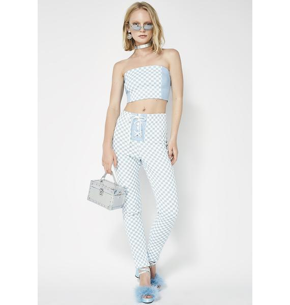 Hardware LDN Lace-Up Denim Checkered High Waisted Pants
