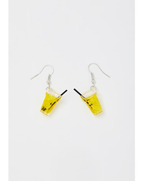 Lemon Sip Of Sweetness Drink Earrings
