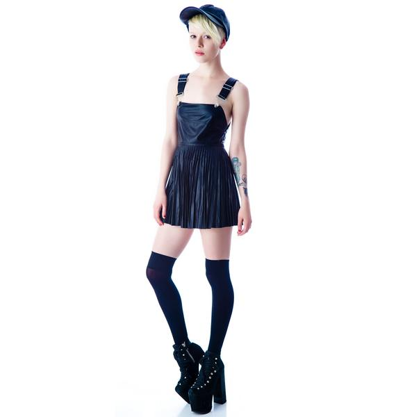 For Love & Lemons Greaser Pleated Overall Dress