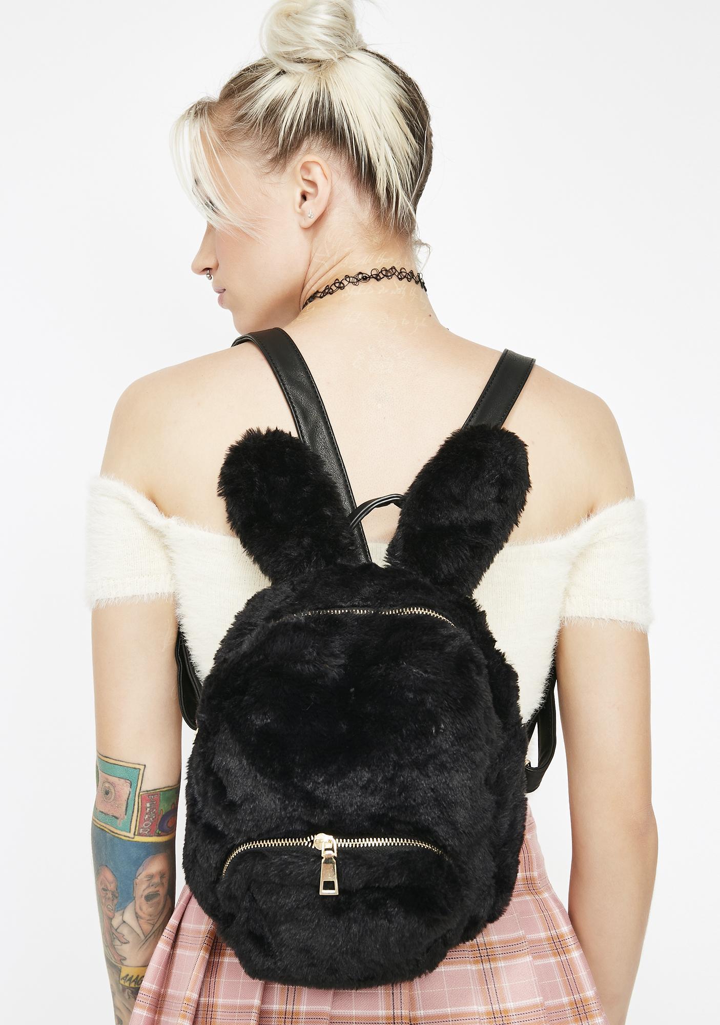 Faux Fur Bunny Black Backpack   Dolls Kill 3d1febb3b2