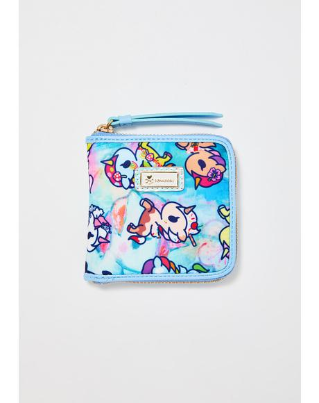 Watercolor Paradise Zip Around Wallet