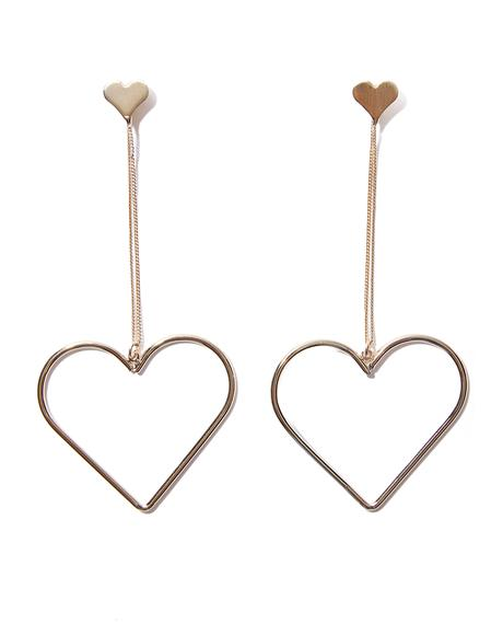 Full Of Luv Dangly Heart Earrings