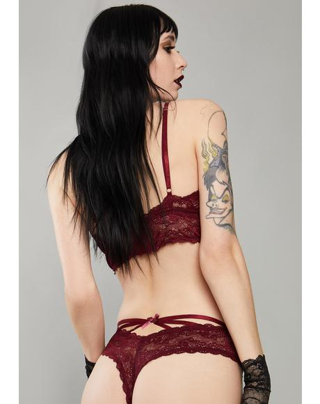 Wine Kiss Of Midnight Lace Panties