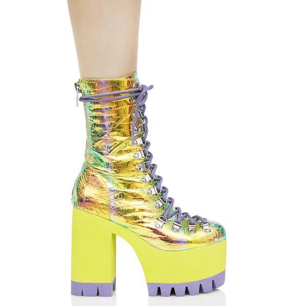 Club Exx Cosmic Matter Iridescent Platform Boots