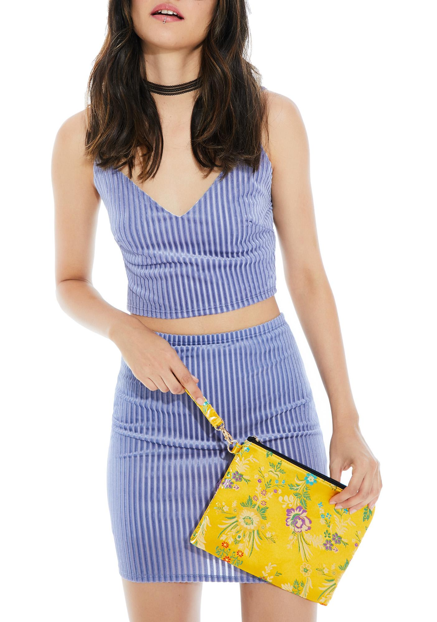 Sunny In Bloom Brocade Wristlet