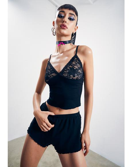 Midnight Tempting Fate Lace Tank And Shorts Set
