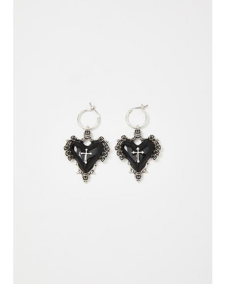 Poetic Prayer Heart Earrings