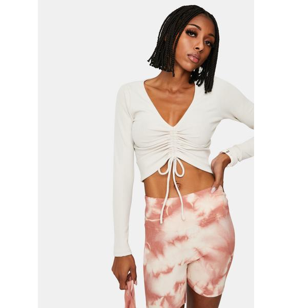 Chill Too Much Fun Ruched Long Sleeve Crop Top