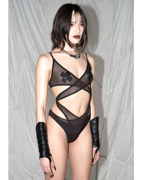Synth Cutout Mesh Wrap Bodysuit